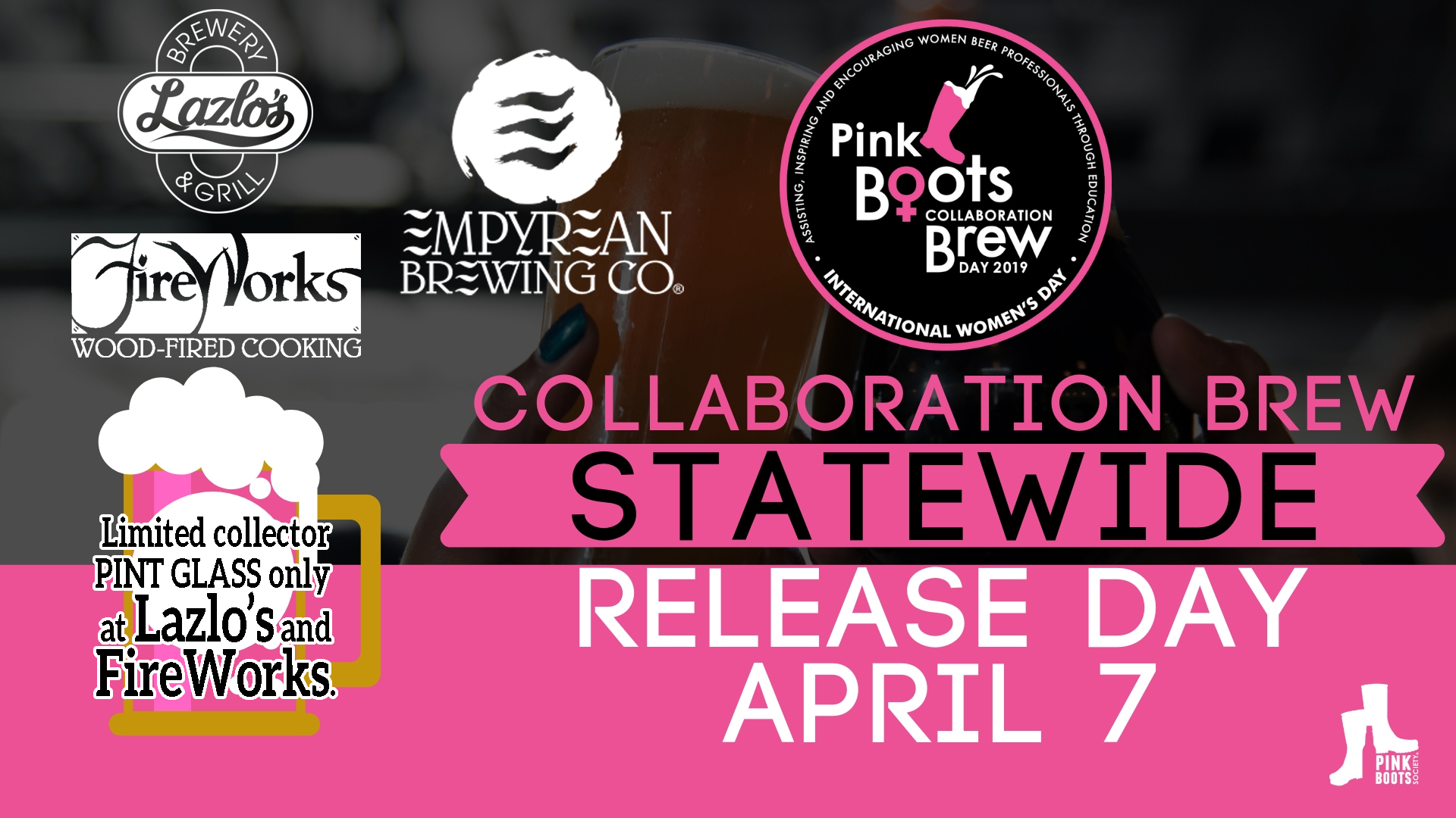 Release Day/Taping Events:  Pink Boots Collaboration Pale Ale @ Lazlo's-Haymarket